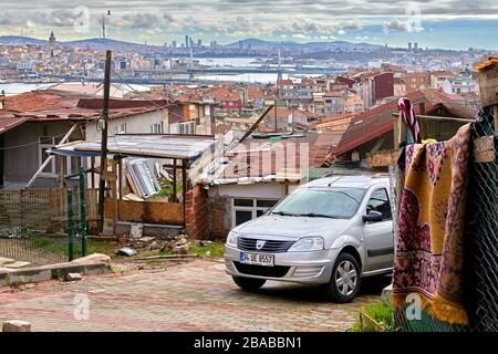 Istanbul, Turkey - February 12, 2020: One-story huts on a hill, somewhere between the old town and the Balat district. - Stock Photo