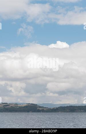 Aquitania, Boyaca / Colombia: April 9, 2018: landscape of Tota, the largest Colombian lake, a cloudy morning - Stock Photo