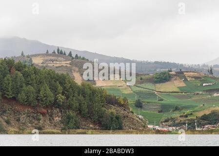 Aquitania, Boyaca / Colombia: April 9, 2018: landscape of Tota, the largest lake in Colombia, a cloudy day - Stock Photo