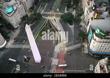 Buenos Aires, Argentina - March 23, 2020: Buenos Aires downtown aerial on a saturday night in a city under quarantine in Buenos Aires, Argentina - Stock Photo
