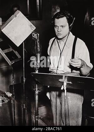 Orson Welles performs on the CBS Radio in 1938. FIRST PERSON SINGULAR, presented hour long dramatic adaptions from popular literary works from July-Sept. 1938, followed by The MERCURY THEATER ON THE AIR. The famous broadcast of H.G. Wells, WAR OF THE WORLDS, created public panic on October 30, 1938, when some listeners mistook the fiction as breaking news  (BSLOC 2018 3 25)