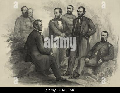 US Civil War. Imagined scene of President Abraham Lincoln sitting on a rock talking with his victorious commanders. From left: Adm. David Porter, Adm. David Farragut, President Abraham Lincoln, Gen. William Sherman, Gen. George Thomas, Gen. Ulysses Grant, and Gen. Philip Sheridan  (BSLOC 2018 10 55)