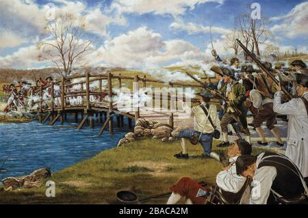 'The Shot Heard 'Round the World', by Domenick D'Andrea, National Guard Heritage Painting. American Revolution, Battle of Concord, April 19, 1775. The Massachusetts Militia, commanded by Major John Buttrick, skirmished with British soldiers guarding the North Bridge into Concord. Three British shots were fired, killing one and wounding another. The Minute Men fired back, wounding 4 British officers and 7 enlisted men, two mortally. The British pickets fell back, joining their main force in Concord where they destroyed gunpowder and arms  (BSLOC 2019 3 75)