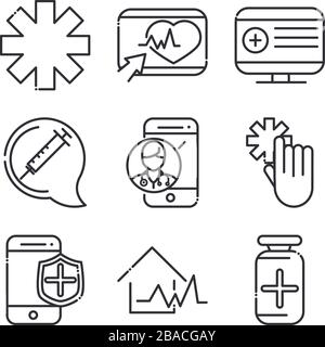online health, medical assistance support consultation icon set vector illustration covid 19 pandemic line icon - Stock Photo