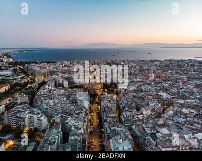 Thessaloniki Greece aerial landscape with urban view