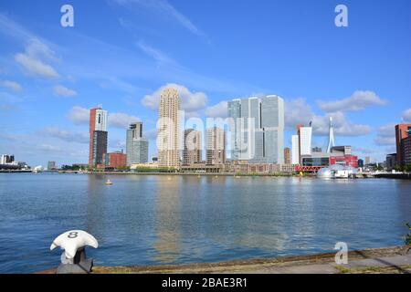 Rotterdam, The Netherlands, May 2019;  View of the Rijnhaven and high rise buildings on Kop van Zuid Rotterdam in sunny weather including floating for - Stock Photo