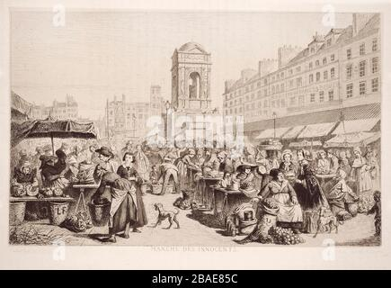 Engraving of the innocent market in Paris. Designed by Leopold Flameng. 1859 - Stock Photo