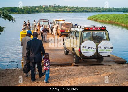 Paraa Ferry Terminal, Uganda - July 17 2011: Paraa or Parra Vehicle Ferry Crossing the Victoria Nile in Murchison Falls National Park, Uganda, Africa.