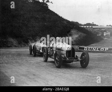 Bugatti type 39A, George Eyston at Brooklands 1927 British Grand Prix - Stock Photo