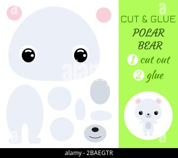 Cut and glue baby polar bear. Color paper application game. Educational paper game for preschool children. Cartoon character. Antarctic animal. Flat v - Stock Photo