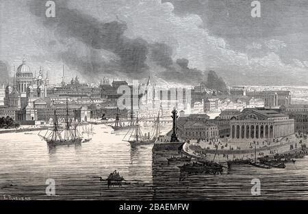 cityscape of Saint Petersburg, former Stock Exchange building, today Central Naval Museum, Russia, 19th century - Stock Photo