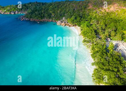 Anse Lazio beach aerial view in Praslin Seychelles