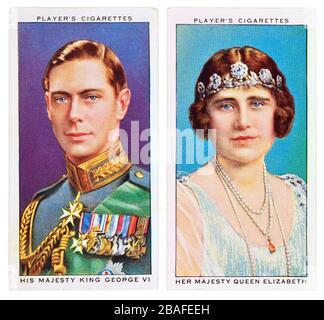 Cigarette cards: Player's Cigarettes - Coronation of George VI (1937) King George VI and Queen Elizabeth