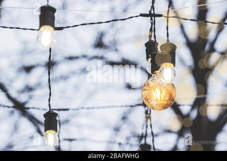 Low-angle view of glowing vintage light bulbs. Outdoor party decoration. Vintage style lights. Glowing garland hanged on tree outdoors. Party lights m - Stock Photo