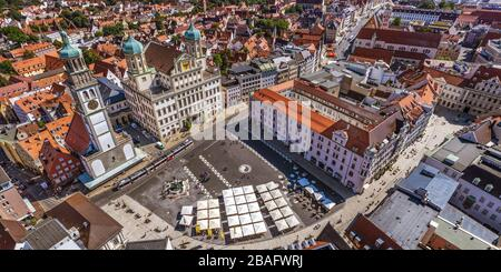The bavarian city of Augsburg from above - impressions around the central place, the Rathausplatz - Stock Photo