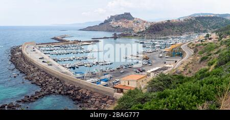 Castelsardo town and port in Sardinia, Province of Sassari, Italy. Beaches and villas in Sardinia. - Stock Photo