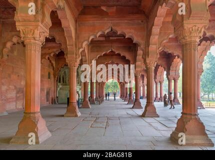 The Diwan-i-am (Hall of Public Audiences) in the Red Fort, Delhi, India