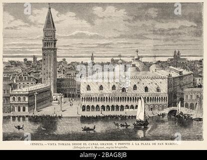Panoramic general view of the city of Venice seen from the Canal Grande and in front of St. Mark Square. Italy, Europe. Old 19th century engraved - Stock Photo