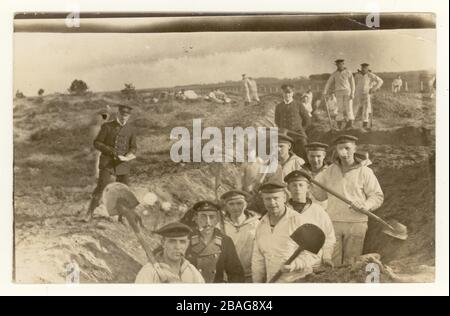 German WW1 era postcard of Prussian marines with spades digging trenches, 31st March 1915 sent to a family in Kasten, Bavaria, Germany.