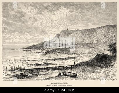 La Pointe de la Heve, Sainte-Adresse, Le Havre. France Europe. Old 19th century engraved illustration image from the book New Universal Geography