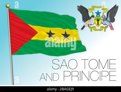 Sao Tome and Principe official national flag and coat of arms, vector illustration - Stock Photo