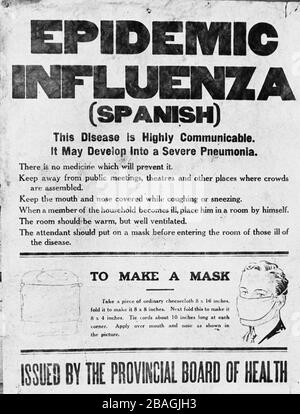 Spanish Flu poster. Poster issued by Alberta's Provincial Board of Health alerting the public to the 1918 influenza epidemic. The poster gives information on the Spanish flu and instructions on how to make a mask. - Stock Photo