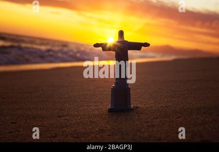 Christ The Redeemer Rio De Janeiro Famous Beach At Sunset - Stock Photo