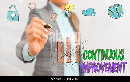 Conceptual hand writing showing Continuous Improvement. Concept meaning ongoing effort to improve products or processes - Stock Photo
