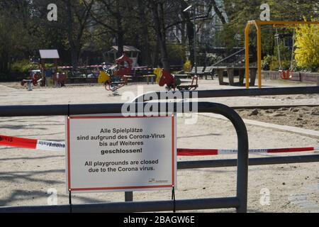 Closed Playgrounds in Frankfurt Germany due to Covid-19