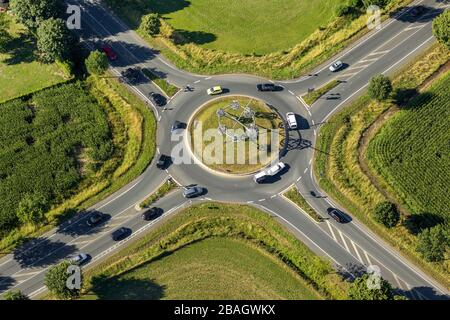 installation 'Raum Zeit' on the center island of the roundabout on the federal highway 8 and the federal highway 67 in Rees, 01.08.2013, aerial view, Germany, North Rhine-Westphalia, Lower Rhine, Rees - Stock Photo