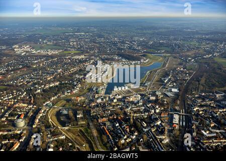 artificial Lake Phoenix in Dortmund, 19.01.2014, aerial view, Germany, North Rhine-Westphalia, Ruhr Area, Dortmund