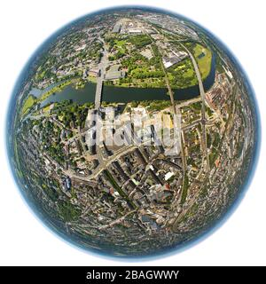 city centre of Muelheim with river Ruhr and Darlington Park, 02.06.2011, aerial view, Germany, North Rhine-Westphalia, Ruhr Area, Muelheim/Ruhr - Stock Photo