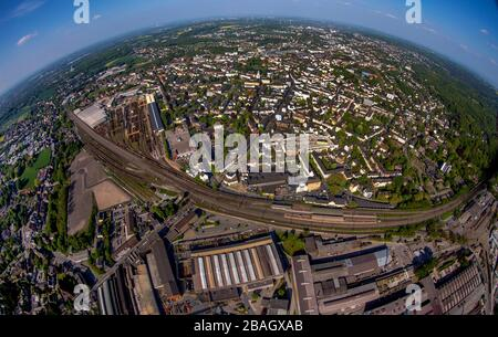 overview of Witten with stainless steel mill and Ruhr River, 22.07.2019, aerial view, Germany, North Rhine-Westphalia, Ruhr Area, Witten - Stock Photo