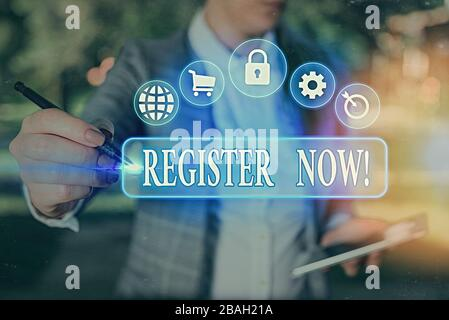 Handwriting text writing Register Now. Conceptual photo official list or record showing or things into forum