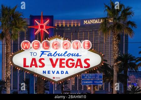 The Welcome to Fabulous Las Vegas sign along The Strip in Las Vegas, Nevada, USA. - Stock Photo