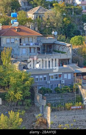 Newer houses in Gjirokaster town UNESCO World Heritage Albania - Stock Photo