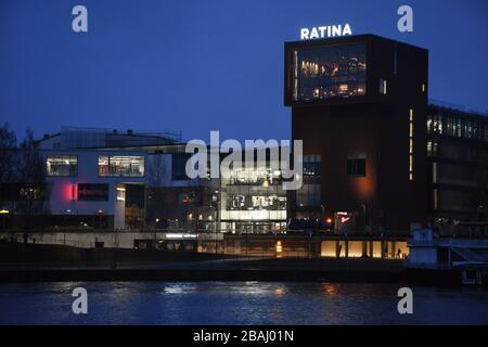Ratina shopping mall at night in Tampere Finland - Stock Photo