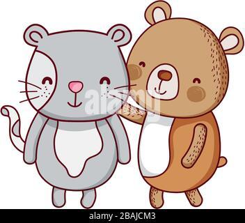 cute animals, bear and cat cartoon isolated icon vector illustration - Stock Photo