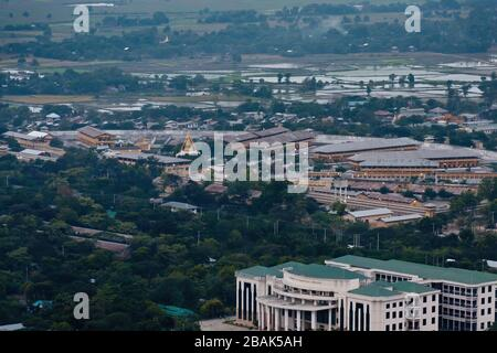 Mandalay Prison and University of Traditional Medicine, a view from the Mandalay Hill, Myanmar - Stock Photo