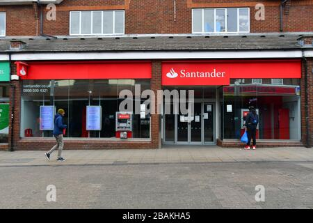 London, UK. 28th March 2020. Santander close During the coronavirus in UK lockdown, at Walthamstow Market, London. Credit: Picture Capital/Alamy Live News - Stock Photo