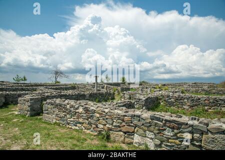 Histria, Romania - June 10 2019: ruins of ancient greek and roman stronghol near Histria town, Constanta county - Stock Photo