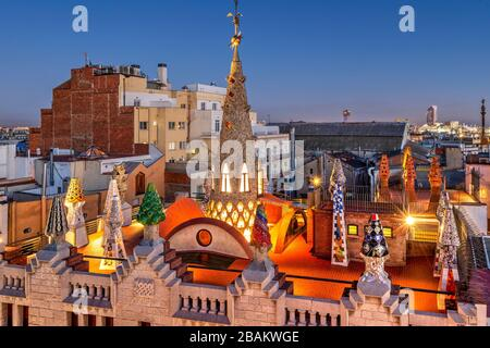 Rooftop terrace of Palau Guell mansion designed by architect Antoni Gaudi, Barcelona, Catalonia, Spain - Stock Photo