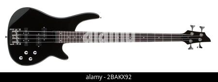 Four string 24 fret two octive bass guitar on white background Stock Photo
