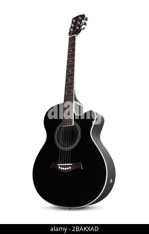 Front and side view of a black guitar on white Stock Photo