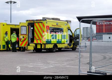 London, UK. 28th March 2020. London UK ExCel Centre prepares to treat Covid-19 patients 'within days'. Now renamed NHS Nightingale to fight the UK's coronavirus battle Credit: Michelle Sadgrove/Alamy Live News - Stock Photo