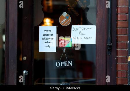 London, UK. 28th March, 2020 Restaurant offering 50% discount for NHS staff in Teddington during the Coronavirus Crisis Andrew Fosker / Alamy Live News - Stock Photo