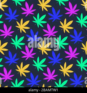 Cannabis leaf bright, Marijuana leaf seamless pattern. Simple, classy Hemp leaves isolated on black background. Can be used as logo for a cannabis far - Stock Photo