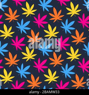 Cannabis leaf, Marijuana leaf seamless pattern. Simple, classy Hemp leaves isolated on black background. Can be used as logo for a cannabis farm, medi - Stock Photo