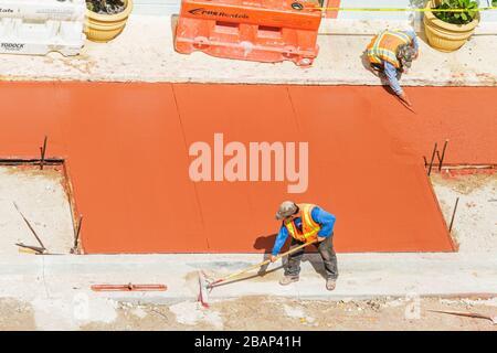 Florida, FL, South, Miami Beach, SoBe, Art Deco District, 'Ocean Drive', under new construction site building builder, renovation, repair, city street