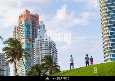 Florida, FL, South, Miami Beach, SoBe, South Pointe Park, Point, adult adults man men male, woman women female lady, couple, high rise rises skyscrape - Stock Photo